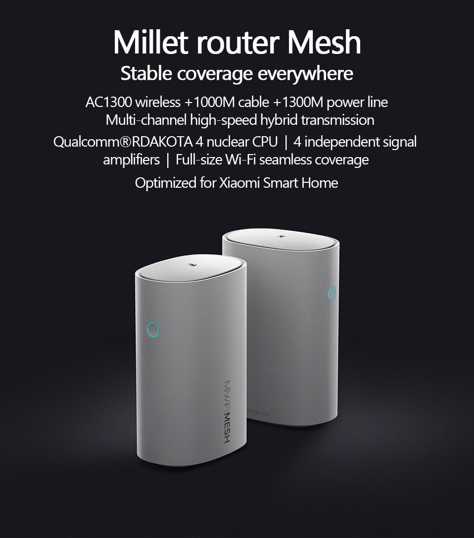 Original Xiaomi Mi Router Mesh WiFi 2.4G 5GHz High Speed 4 core CPU 256MB AC1300+1000M LAN+1300M Signal Amplifier WiFi Router (1)