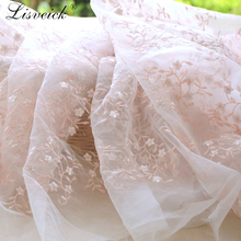 high quality 1yard Organza embroidered small flower lace fabric,mesh embroidery fabric,skirt dress material,patchwork cloth