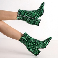 DiJiGirls High Quality Europe America Women Short Boots Winter Shoes Snakeskin Pattern Green White Yellow Ankle Boots Big Size