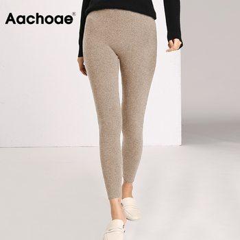 Aachoae Autumn Winter Women Leggings 2020 Solid Casual Slim Pants Trousers High Waist Sportwear Ladies Ankle Length Leggings 1