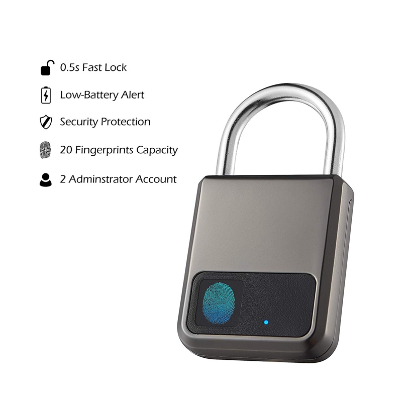 Fingerprint Padlock,Smart Padlock,Combination Lock, Suitable For House Door, Bookcase, Suitcase, Backpack, Gym, Bike, Office, Su