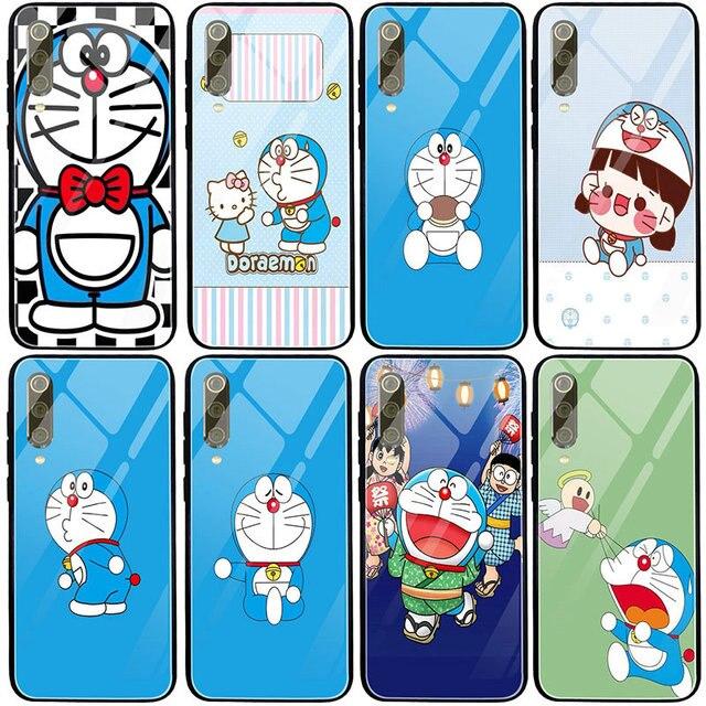 Étui en verre trempé pour Xiaomi Mi 8 9 10 SE Redmi Note 4 4X 5 5A 7 7A 8 8A 9 9A 9C Plus Lite Nobita Nobi japon Doraemon chat bleu