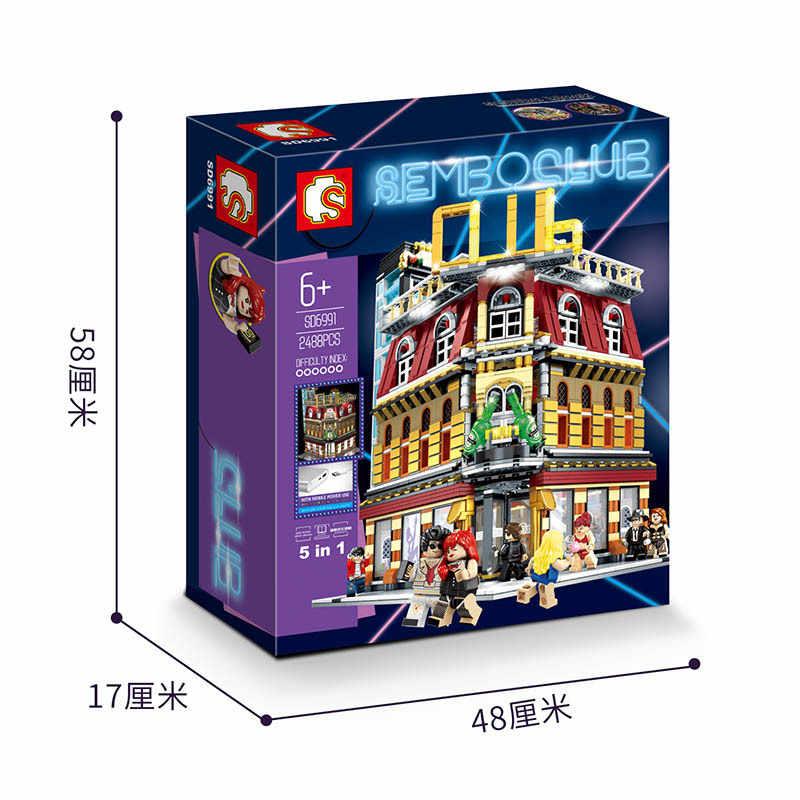 2488 Uds SD6991 City Street Architecture Series SemboClub Neon Nightclub modelo de bloques de construcción ladrillos juguetes regalos para niños