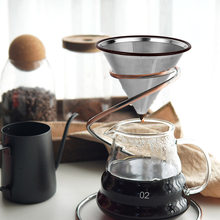 1pc Stainless Steel Reusable Coffee Filter Cone-Style Mesh Strainer Dripper Durable Coffee Pot Filter Funnel Grid Coffee Tools(China)