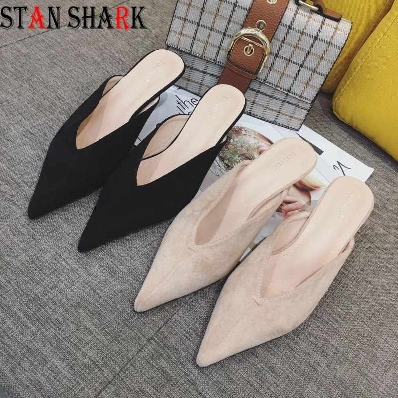 New Woman Brand Granny Shoes Elegant Ladies Summer Mules Shoes Kitten Heels Gladiator Sandals Pointed Toe Slippers Women Slides
