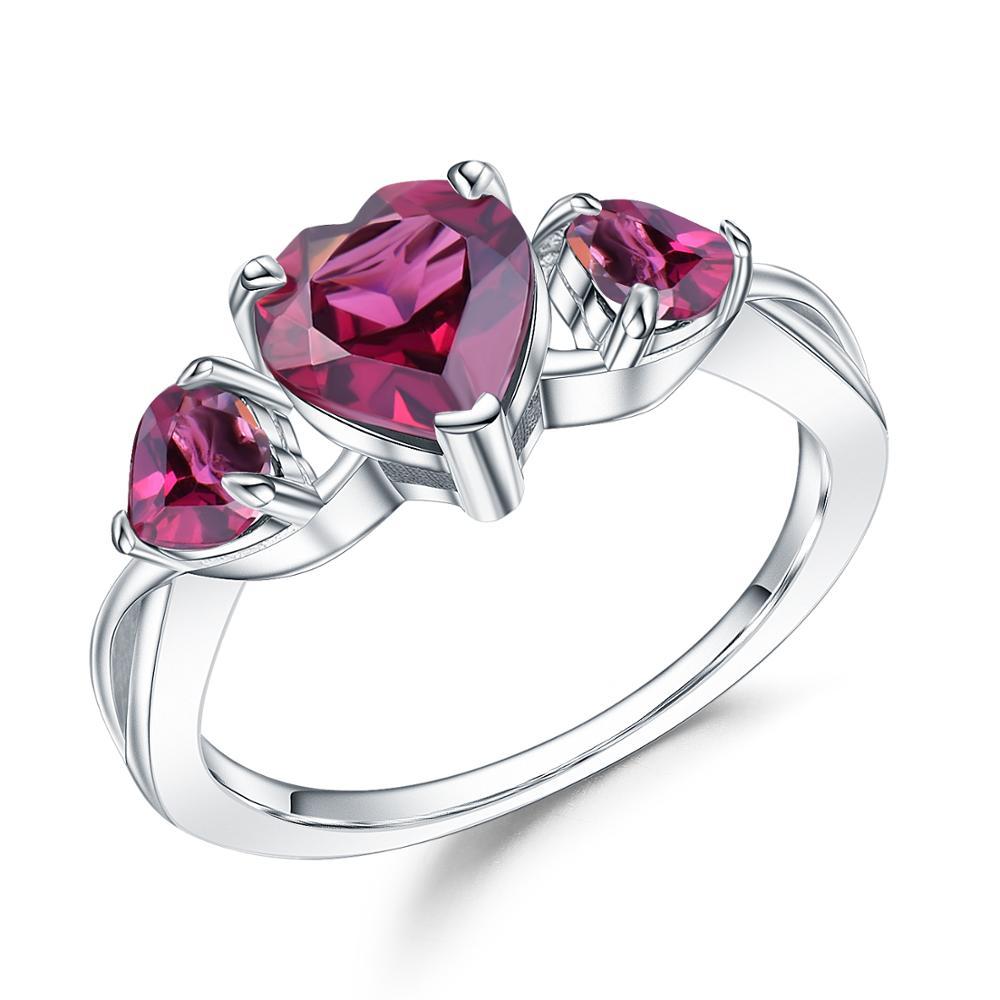 GEM'S BALLET 2.06Ct Natural Rhodolite Garnet Heart Rings 100%925 Sterling Silver Gemstone Ring For Women Valentine's Day Jewelry
