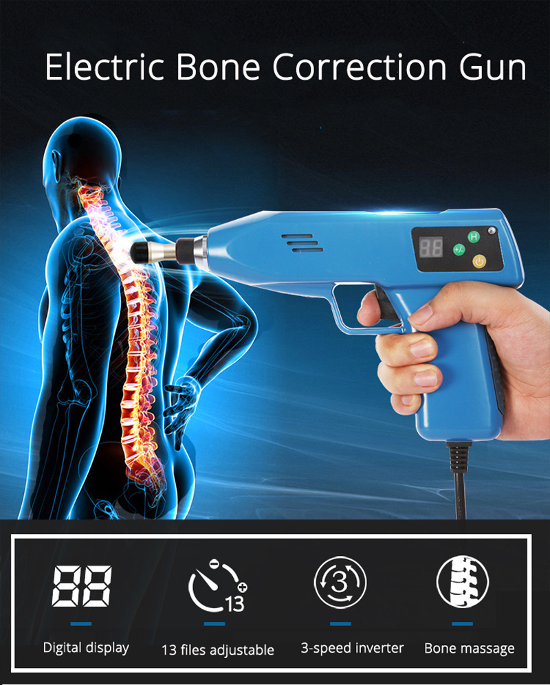 6 Heads 13 Levels Adjustable Spine Chiropractic Instrument Electric Bone Correction Gun Activator Cervical Therapy Massager