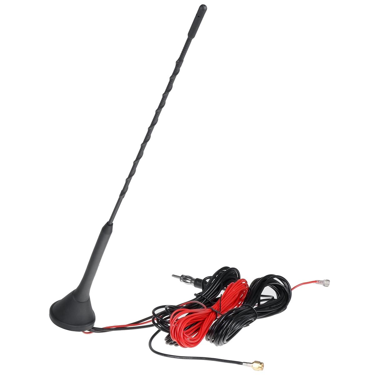Montagem superior do telhado am fm antena de rádio antena base kit universal ativo amplificado dab + fm rádio antena do carro mastro Antenas    -