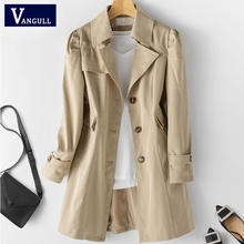 Vangull Women New Windbreaker Solid Turn-down Collar Mid-length Plus Size Lined Coat Spring Autumn C