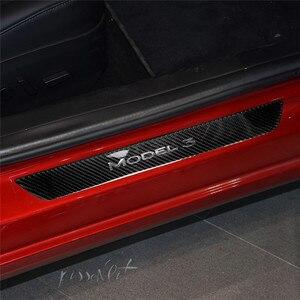 Image 4 - Подходит для Tesla Model 3 автомобильные аксессуары углеродное волокно руль декоративная наклейка внутренняя Защитная панель