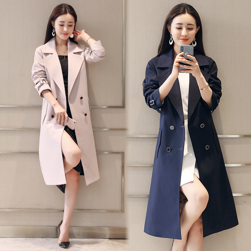 OL Ms. Popular Windbreaker In The Long Section 2019 Spring And Autumn New Slim Slimming Temperament Long Solid Color Coat