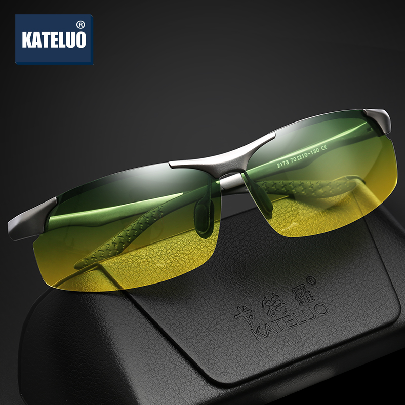 KATELUO Brand Day Night Vision Dual Use Mens Aluminum Sunglasses HD Polarized UV400 Male Sun Glasses For Men Eyewear Accessories