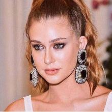 JIJIAWENHUA New Trend Sparkling Large Rhinestone Pendant Ladies Earrings Dinner Jewelry Statement Fashion Accessories