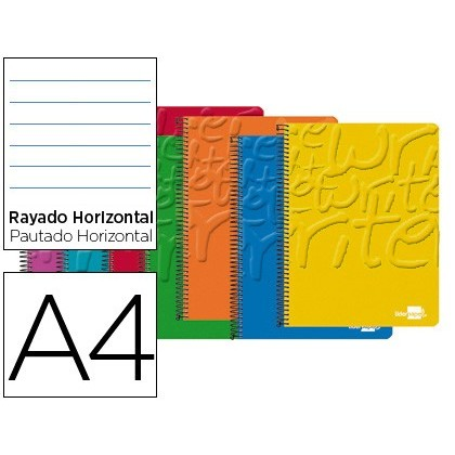 SPIRAL NOTEBOOK LIDERPAPEL A4 MICRO WRITE SOFTCOVER 80H 60 GR HORIZONTAL 4TALADROS COLORS ASSORTED 5 Units