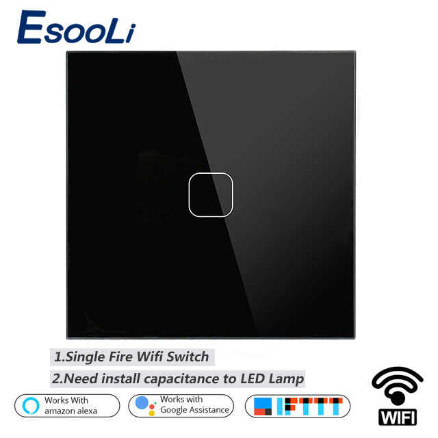 Esooli EU/UK WIFI Smart Touch Switch APP Wireless Remote Light Wall Switch Crystal Glass Panel Works With Alexa / Google Home