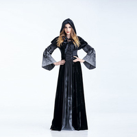 Adult Skull Skeleton Witch Long Hooded Dress Halloween Cosplay Costumes