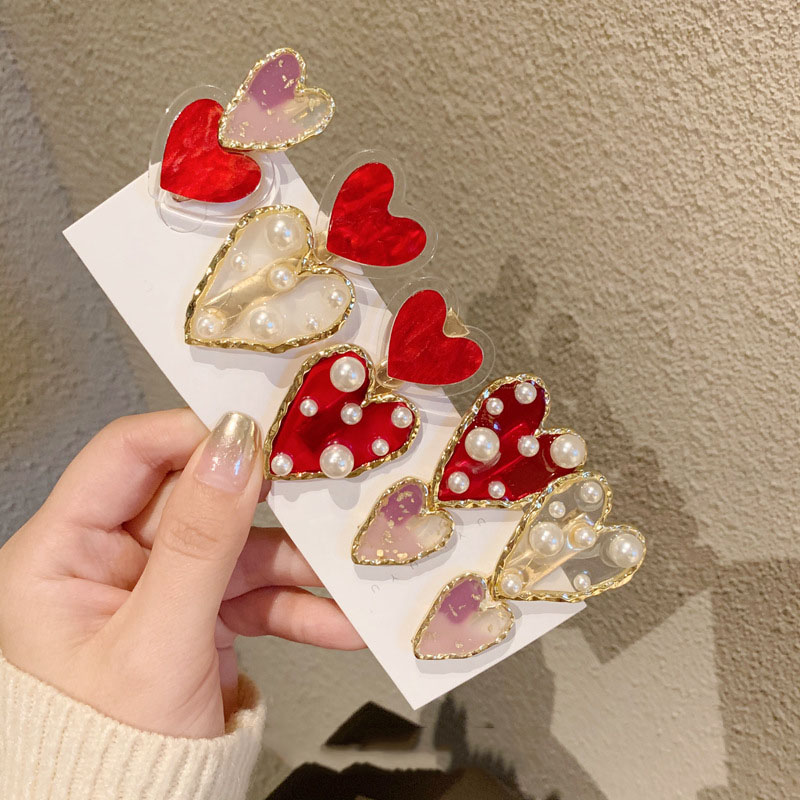 2020 Korean New Trendy Red Heart Simulated Pearl Transparent Acrylic Hair Clips Hairpins For Women Hair Accessories Hairpins