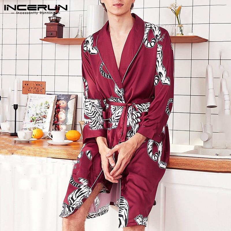 INCERUN Fashion Men Robes Printed Lapel Long Sleeve Pockets Sleepwear Kimono Faux Silk Satin Bathrobe Casual Homewear Nightgown