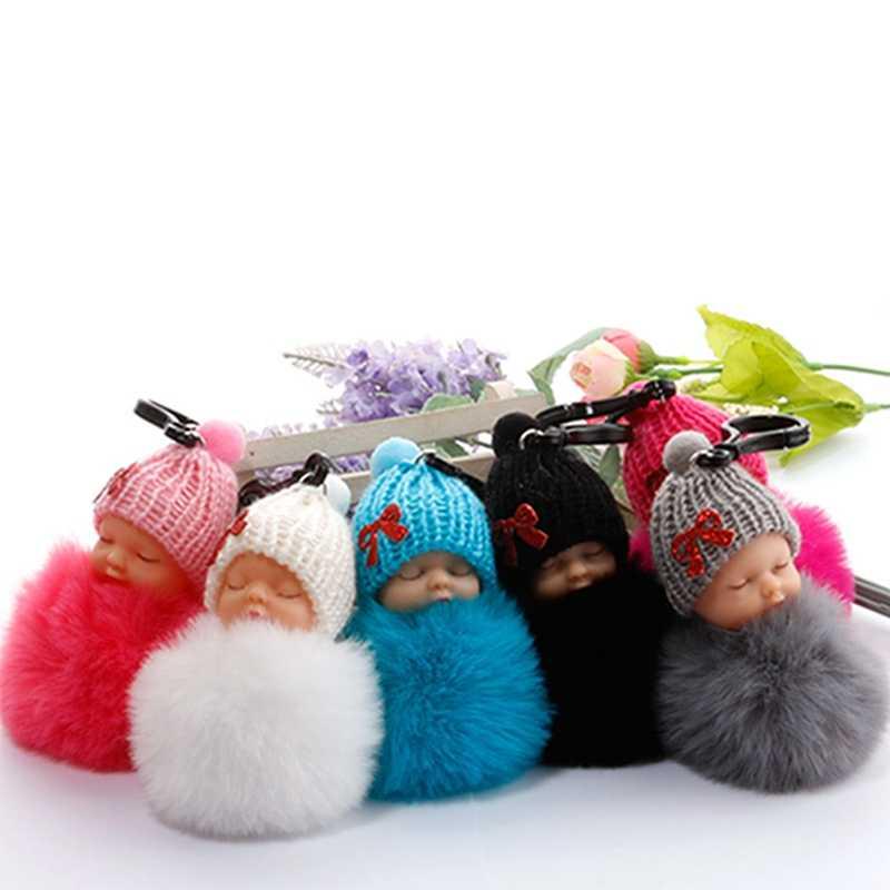 Новая Милая Спящая Детская кукла брелок с помпоном из кроличьего меха, брелок для ключей, пушистый автомобильный брелок для женщин, сумка для девочек, автомобильные брелоки