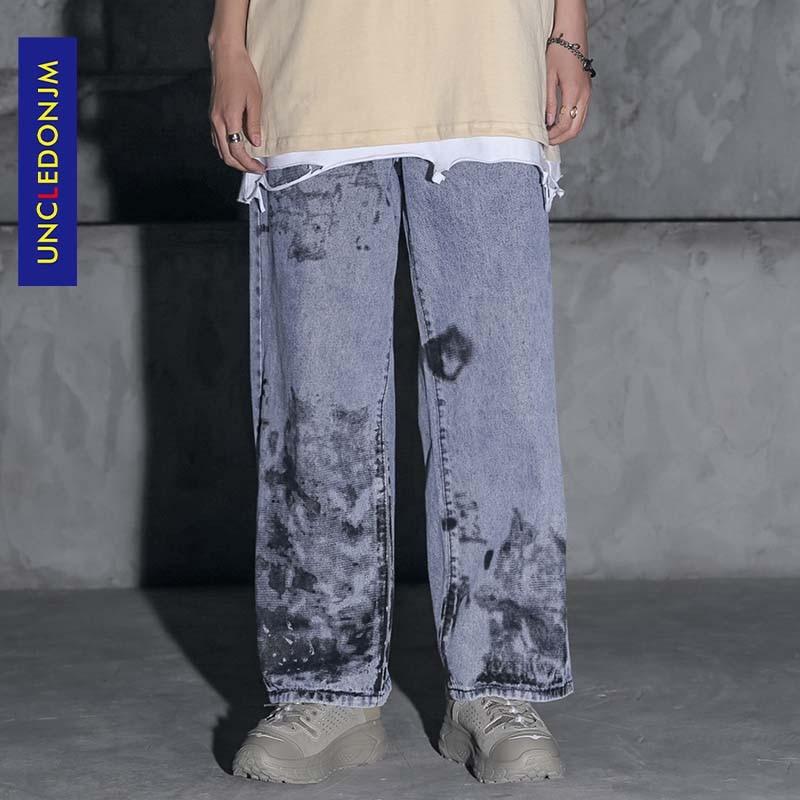 Biker Jeans Designer Jeans Men High Quality Graffiti Print Casual Baggy Denim Jeans Hip Hop Hipster Streetwear Jeans AN-C051