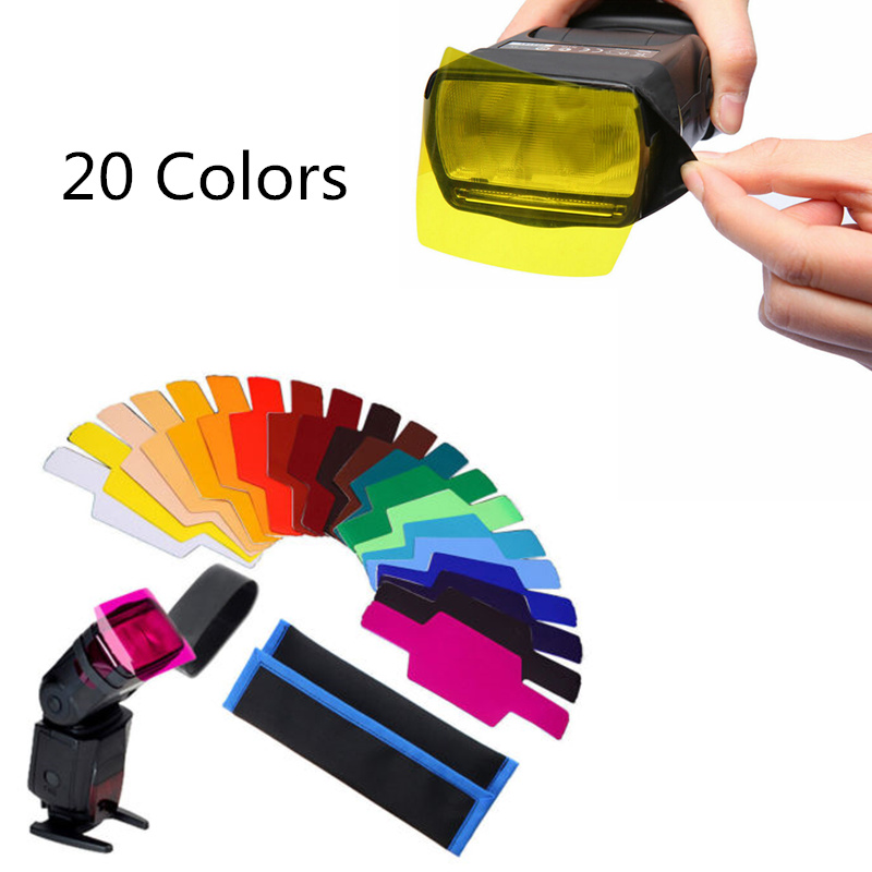 20pcs Flash Speedlite Color Gels Filters For Canon Camera Photographic Gels Filter Flash Speedlite Speedlight