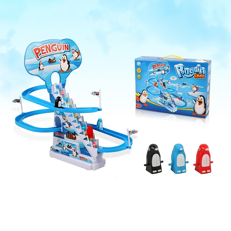 Kinderen Groot Formaat Muziek Piggy Traplopen Speelgoed Educatief Pinguïn Roterende Slide Gemonteerd Elektrische Camera Track