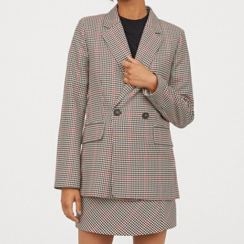 Офисный женский двубортный пиджак с рисунком «гусиные лапки», пальто, винтажный стильный женский пиджак 2019, модная верхняя одежда в клетку ...