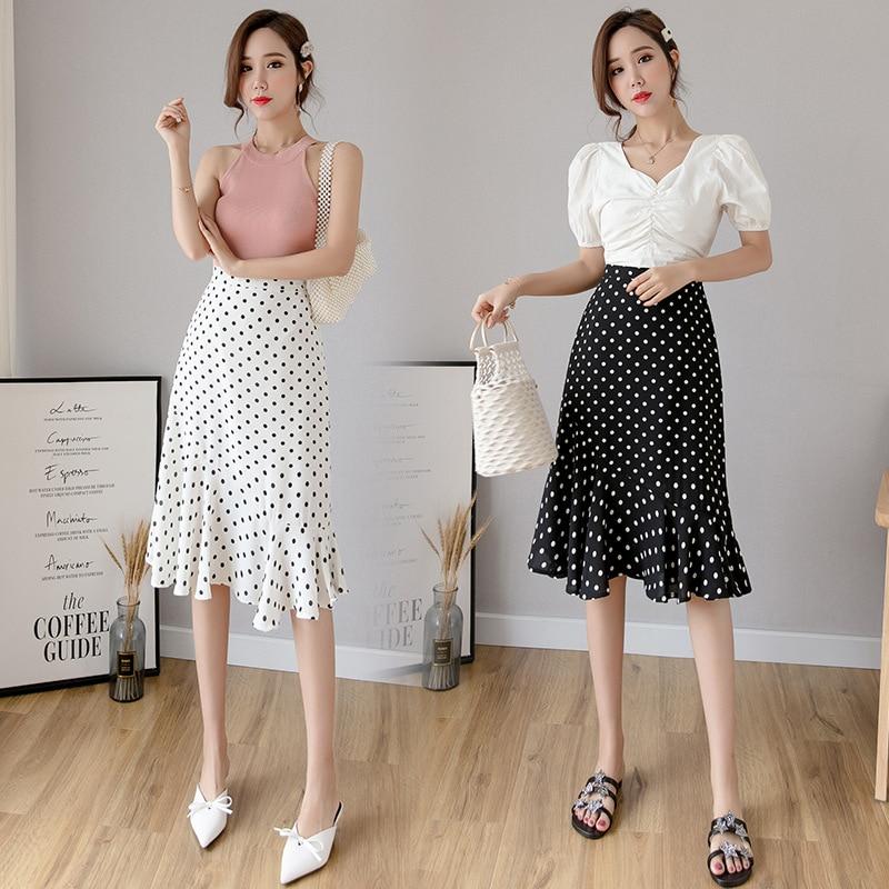 Photo Shoot 2019 Spring And Summer Polka Dot Skirt Mid-length High-waisted Slimming Hong Kong Flavor Fishtail Skirt Skirt