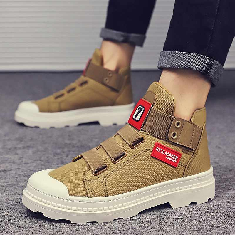 Mannen herfst winter canvas sneakers Western Oxfords Laarzen Outdoor hoge top rubberen zool schoen Engeland Retro Schoenen rode enkel botas