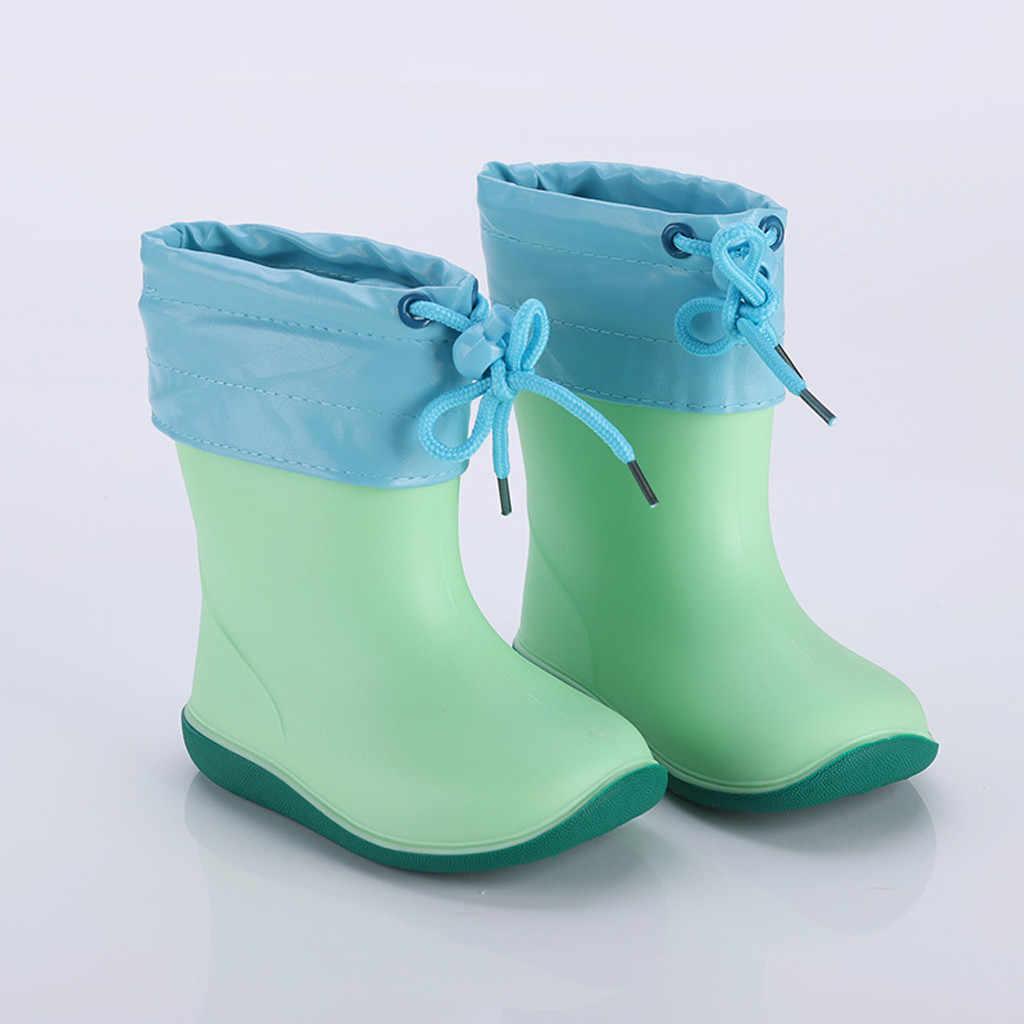 Arloneet crianças bebê meninos menina pvc botas de chuva à prova dnon água antiderrapante sapatos de borracha das crianças bonito sapatos de chuva botas de tornozelo za08