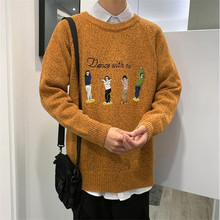 2019 autumn new mens fashion sweater loose round neck embroidery head wearing a large size casual