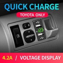 Новинка, автомобильное зарядное устройство Usb Toyota 12 в 24 В, адаптер с двумя Usb-разъемами 4,2 а Corolla Hilux, зажигалка для вольтметра смартфона