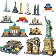 World's Famous Architecture Urban Street View Louvre Pyramid Classic City Brick Building Blocks Construction Bricks Kid Toy Gift