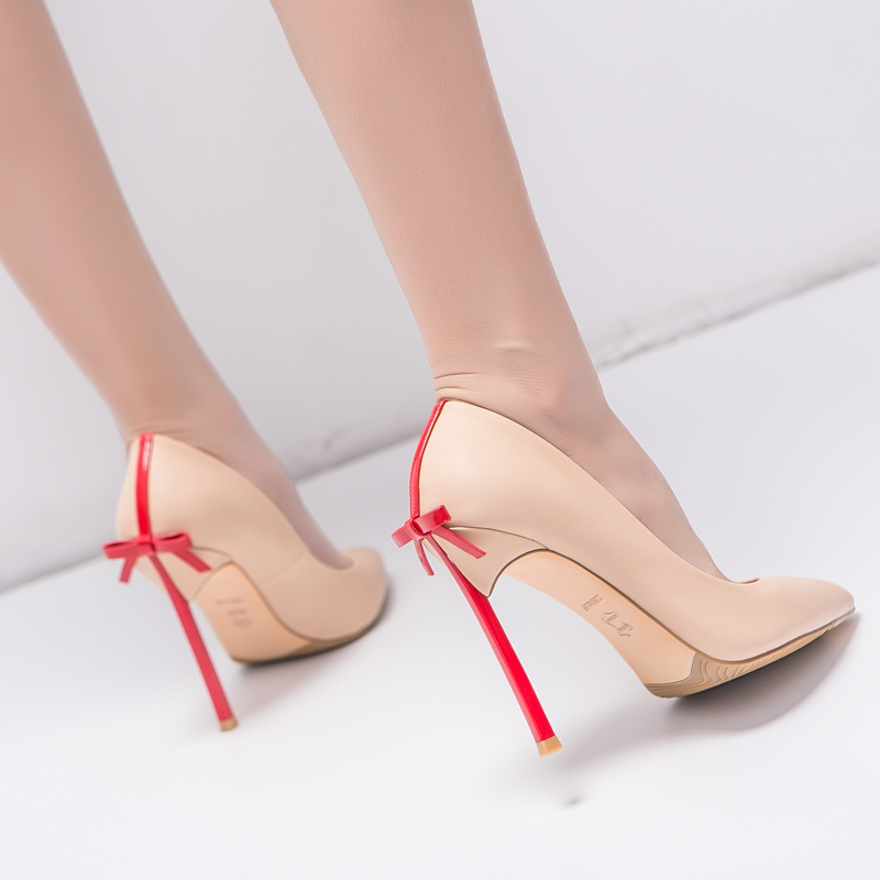 Grande taille femmes chaussures bout pointu pompes PU cuir robe chaussures haute noeud papillon talons hauts chaussures de mariage zapatos mujer-in Escarpins femme from Chaussures    1