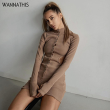 WannaThis Women Casual Dress Button Solid Hight Neck Slim Hollow Out Sexy Long Sleeve Solid Autumn Winter 2019 Hole Party Dress