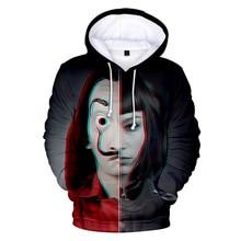 La casa de papel 3D Mens Hoodies Hombres Designer Hooded Autumn Spring Long Sleeved Pullovers Sweatshirt