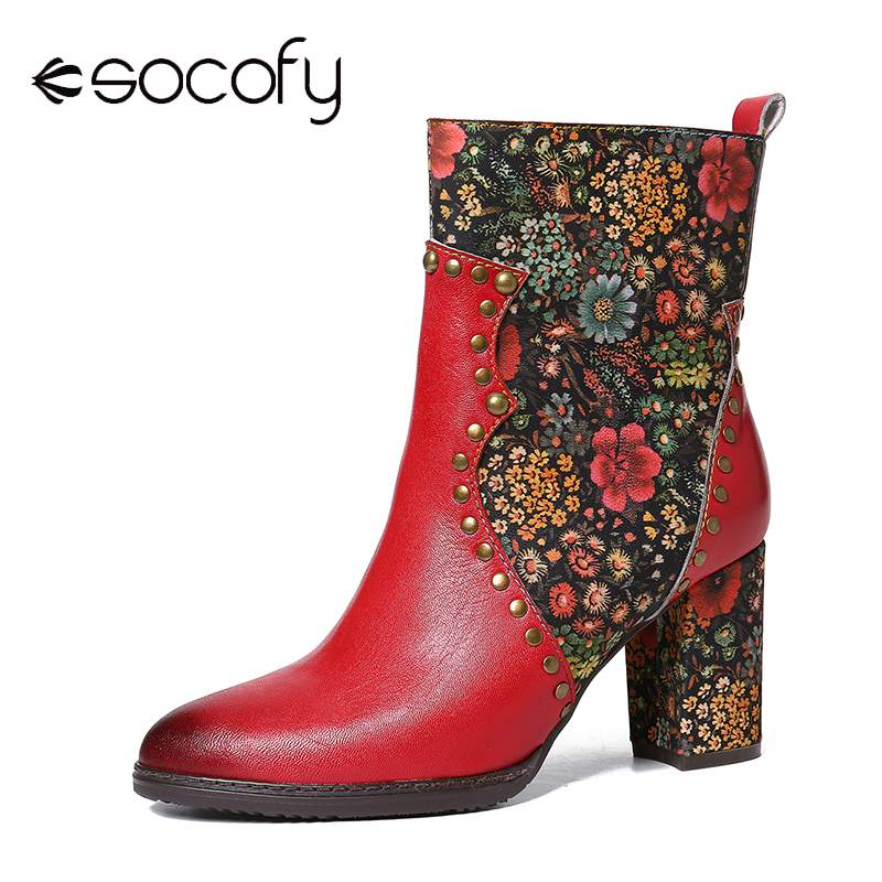 SOCOFY Retro Boots Botas Mujer Colorful Flowers Red Genuine Leather Splicing Square Heels Zipper Short Shoes Women Spring