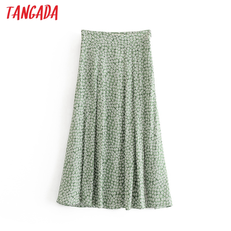 Tangada Women Green Floral Midi Skirt Side Open Vintage Zipper Office Ladies Elegant Chic Mid Calf Skirts 6A138