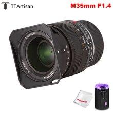 TTArtisan 35mm F1.4 obiettivo a fuoco fisso, grande apertura, obiettivo in alluminio, per Leica m mount, fotocamere M240 M8 M9 M10, con messa a fuoco fissa