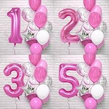 12 sztuk różowe cyfry z foliowych lateksowych balony dla dzieci dekoracja urodzinowa 1st jeden rok urodziny dziewczyna wystrój Baby Shower balon