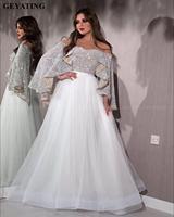 Glitter Silver Sequin White Dubai Arabic Evening Dresses with Cape Sleeve Elegant Off the Shoulder Long Women Formal Prom Dress