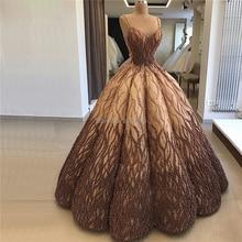 Türkische Gold Braun Dubai Design Sexy Abendkleid 2020 Ärmellose Bodenlangen Applique mit Luxus Perlen Robe De Soiree aibye