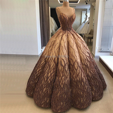 Turkish Gold Brown Dubai Design Sexy Evening Dress 2020 Sleeveless Floor Length Applique with Luxury Pearls Robe De Soiree Aibye