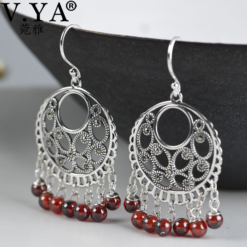 V.YA S925 Sterling Silver Vintage Tassel Earrings Fashion Jewelry Indian Boho Red Stone Silver Drop Earrings For Women