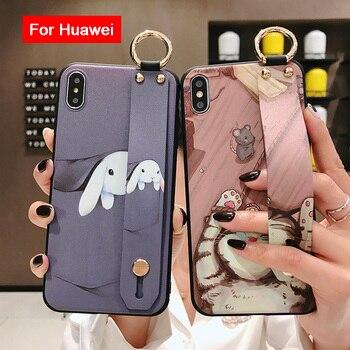 Funda suave para Huawei Mate 30 Lite 20 Pro para Huawei P20 P30 P40 Pro Lite Nova 6SE 5i 7i 4E Honor 20 Pro correa de muñeca
