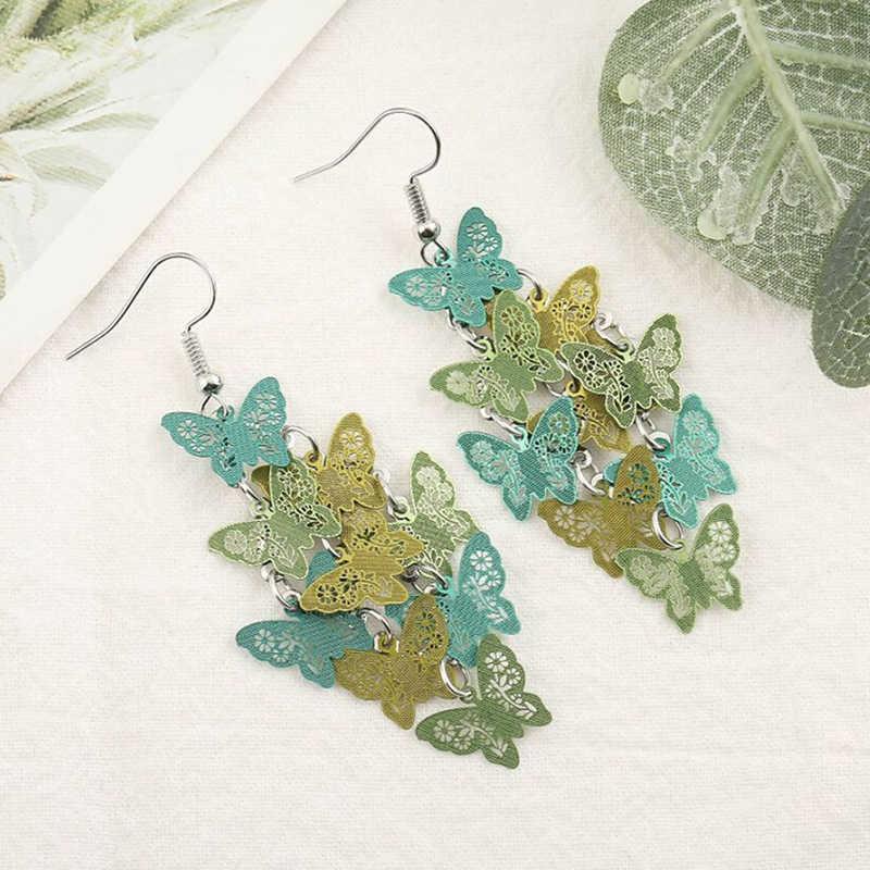 Novo único borboleta gota brinco orelha gancho feminino festa jóias para senhora borboleta longo borla balançar brincos jóias presente