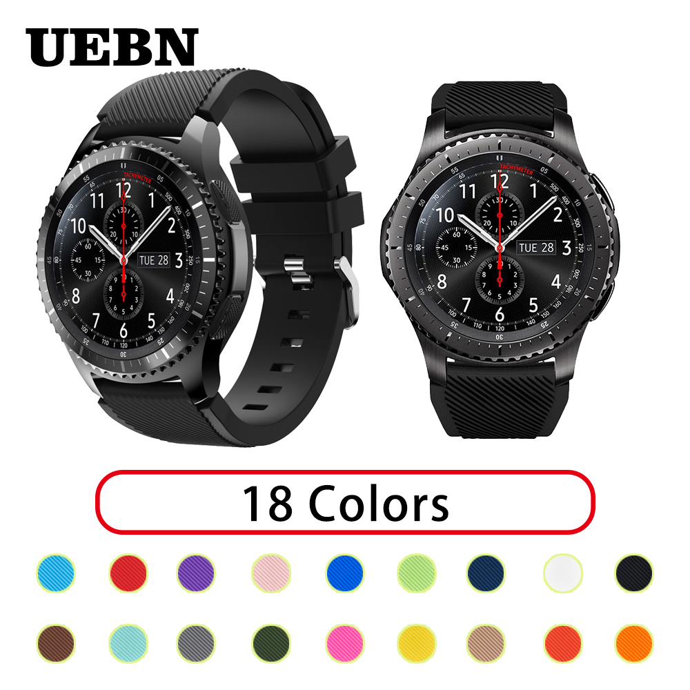 UEBN 22mm 20mm Silicone Sport Waterproof Replacement Watch Band For Garmin Vivoactive 3 Samsung Gear S2 S3 Strap Watchbands