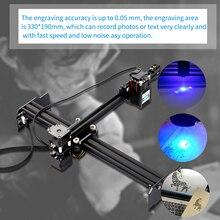 Kkmoon 20 w portátil diy máquina de gravura a laser cortador alta velocidade mini desktop gravador a laser impressora para madeira couro eua plug