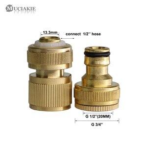 Image 2 - Mosiądz ogród wody adapter G1/2 3/4 gwint kran szybkie łączenie Connecter 1/2 Cal woda z węża pistolet pralka armatura