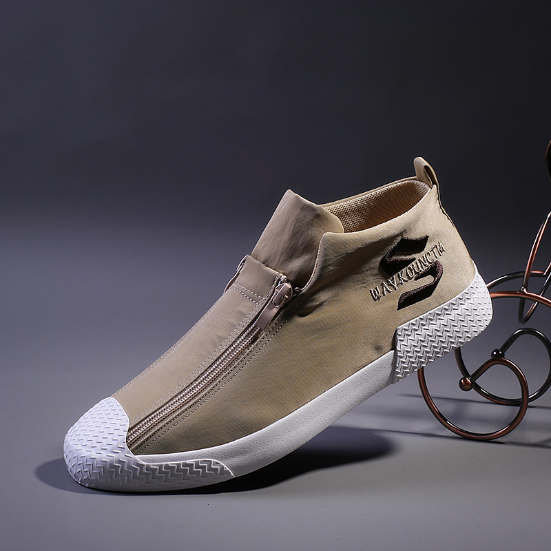High-top Mens Canvas Shoes Spring And Autumn New Ashion Mens Casual Shoes Cloth Male Youth Zipper Lazy Flat Mens Sneakers